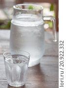 Купить «Glass of cold water with jar», фото № 20922332, снято 23 мая 2018 г. (c) PantherMedia / Фотобанк Лори