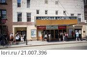 Купить «The historic Lucille Lortel Theater on Christopher Street in Greenwich Village in New York», фото № 21007396, снято 2 августа 2015 г. (c) age Fotostock / Фотобанк Лори