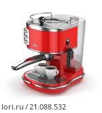 Купить «Coffee machine with cups isolated on white», фото № 21088532, снято 23 мая 2018 г. (c) Maksym Yemelyanov / Фотобанк Лори