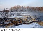 """Порог """"Большой Толли"""" на реке Шуе в январе, Карелия. Стоковое фото, фотограф Natalya Sidorova / Фотобанк Лори"""