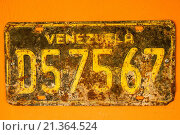 Купить «Venezuelan car licence. Coro, Falcon State, Venezuela.», фото № 21364524, снято 15 мая 2012 г. (c) age Fotostock / Фотобанк Лори