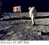 Купить «Moon: July 20, 1969 Astronaut Edwin Buzz Aldrin, pilot of the lunar module, poses beside the United States flag during the Apollo 11 lunar landing. The...», фото № 21387592, снято 2 декабря 2015 г. (c) age Fotostock / Фотобанк Лори