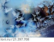 Купить «Морозный узор на зимнем окне», фото № 21397708, снято 15 января 2016 г. (c) ElenArt / Фотобанк Лори