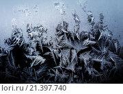 Купить «Морозный узор на зимнем окне», фото № 21397740, снято 3 января 2016 г. (c) ElenArt / Фотобанк Лори