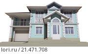 Купить «Вид снизу на фасад голубого коттеджа», иллюстрация № 21471708 (c) Elizaveta Kharicheva / Фотобанк Лори