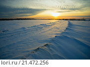 Купить «Зимняя  дорога со  снежными заносами в поле на закате солнца», фото № 21472256, снято 24 января 2016 г. (c) Алексей Маринченко / Фотобанк Лори