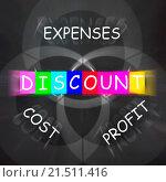 Купить «Profit Minus Cost and Expenses Displaying Discount», фото № 21511416, снято 29 мая 2014 г. (c) easy Fotostock / Фотобанк Лори