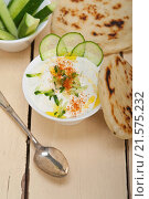 Купить «Arab middle east salatit laban wa khâ.yar Khyar Bi Laban goat yogurt and cucumber salad.», фото № 21575232, снято 23 апреля 2015 г. (c) easy Fotostock / Фотобанк Лори