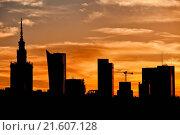 Купить «City of Warsaw Skyline Silhouette», фото № 21607128, снято 14 декабря 2019 г. (c) easy Fotostock / Фотобанк Лори