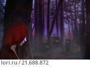 Красная шапочка и волки в ночном лесу. Стоковая иллюстрация, иллюстратор Андрей Юшков / Фотобанк Лори