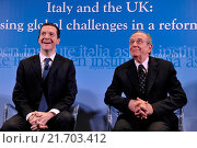 Купить «British Chancellor of the Exchequer George Osborne, Italian Minister of Economy and Finance Pier Carlo Padoan during the meeting Italy and the UK addressing...», фото № 21703412, снято 3 февраля 2016 г. (c) age Fotostock / Фотобанк Лори