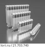 Купить «Секционные алюминиевые радиаторы отопления. 3d model», иллюстрация № 21703740 (c) Виктор Тараканов / Фотобанк Лори