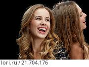 Купить «happy young women dancing at night club disco», фото № 21704176, снято 21 ноября 2015 г. (c) Syda Productions / Фотобанк Лори