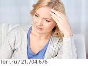 Купить «woman suffering from headache at home», фото № 21704676, снято 27 ноября 2015 г. (c) Syda Productions / Фотобанк Лори