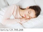 Купить «girl sleeping in bed at home», фото № 21705208, снято 6 декабря 2015 г. (c) Syda Productions / Фотобанк Лори