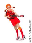 Купить «Woman with guitar isolated on white», фото № 21707504, снято 25 сентября 2015 г. (c) Elnur / Фотобанк Лори