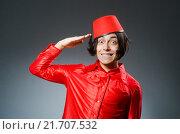 Купить «Man wearing red fez hat», фото № 21707532, снято 30 сентября 2015 г. (c) Elnur / Фотобанк Лори