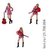 Купить «Woman guitar player isolated on white», фото № 21708004, снято 19 февраля 2019 г. (c) Elnur / Фотобанк Лори