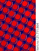 Семиугольники красного цвета расположены на темном-синем  фоне. Стоковая иллюстрация, иллюстратор Ира Кураленко / Фотобанк Лори