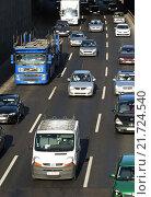 Купить «Berlin, Germany, Rush Hour on the A100 motorway in height Kaiserdamm», фото № 21724540, снято 13 февраля 2015 г. (c) Caro Photoagency / Фотобанк Лори