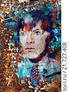 Купить «Berlin, Germany, Portrait of David Bowie as a stencil art», фото № 21727408, снято 8 февраля 2015 г. (c) Caro Photoagency / Фотобанк Лори