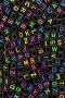 Черные бусины с разноцветными символами латинского алфавита, фон, фото № 21732924, снято 7 февраля 2016 г. (c) Игорь Долгов / Фотобанк Лори