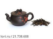Купить «Чайник и китайский черный чай», фото № 21738608, снято 8 февраля 2016 г. (c) Дмитрий Крамар / Фотобанк Лори
