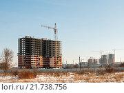 Купить «Панорама строительства. Строительство нового квартала в городе Тула», эксклюзивное фото № 21738756, снято 4 февраля 2016 г. (c) Игорь Низов / Фотобанк Лори