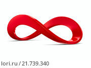 Купить «Red infinity sign on white background. Isolated 3D image», иллюстрация № 21739340 (c) Ильин Сергей / Фотобанк Лори