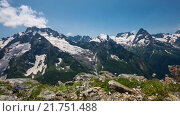 Купить «Лето, горы, Кавказ, Домбай», видеоролик № 21751488, снято 17 июля 2015 г. (c) Анатолий Типляшин / Фотобанк Лори