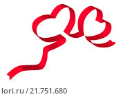 Купить «Два сердца из ленты», иллюстрация № 21751680 (c) Neta / Фотобанк Лори