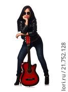 Купить «Woman playing guitar isolated on white», фото № 21752128, снято 11 октября 2015 г. (c) Elnur / Фотобанк Лори