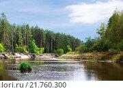 Купить «Река Пра ранней осенью, Рязанская область», фото № 21760300, снято 12 сентября 2015 г. (c) Инна Грязнова / Фотобанк Лори