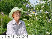 Купить «Пожилая женщина рядом с крупными садовыми ромашками на приусадебном участке», фото № 21761044, снято 26 июля 2015 г. (c) Максим Мицун / Фотобанк Лори