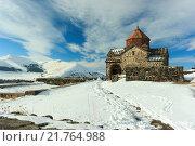 Монастырь Севанаванк зимой (2016 год). Стоковое фото, фотограф Антон Глущенко / Фотобанк Лори