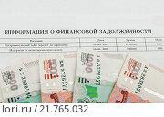 Купить «Деньги лежат на письме о финансовой задолженности по кредиту», эксклюзивное фото № 21765032, снято 8 февраля 2016 г. (c) Игорь Низов / Фотобанк Лори