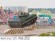 Купить «BMP-3 jumps from the ramp», фото № 21768252, снято 27 июня 2019 г. (c) easy Fotostock / Фотобанк Лори