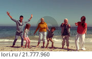 Купить «Happy family jumping with hands up», видеоролик № 21777960, снято 22 июля 2019 г. (c) Wavebreak Media / Фотобанк Лори