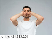 Купить «latin man covering his ears with hand palms», фото № 21813260, снято 15 января 2016 г. (c) Syda Productions / Фотобанк Лори