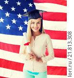 Купить «student in graduation cap with certificate», фото № 21813308, снято 30 марта 2013 г. (c) Syda Productions / Фотобанк Лори