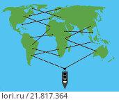 Карта мира, корабль и веревки между континентами. Стоковая иллюстрация, иллюстратор Фомичёв Роман / Фотобанк Лори