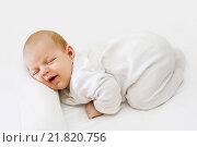 Новорожденный ребенок улыбается во сне. Стоковое фото, фотограф Наталья Чумакова / Фотобанк Лори