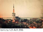 Купить «Retro style panoramic view of Tallinn old city center», фото № 21821996, снято 28 февраля 2020 г. (c) easy Fotostock / Фотобанк Лори
