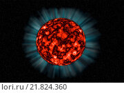 Купить «Unknown fiery planet on a dark background in spac», фото № 21824360, снято 17 июня 2019 г. (c) easy Fotostock / Фотобанк Лори