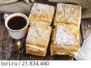 Купить «A Polish cream pie made of two layers of puff pastry», фото № 21834440, снято 23 октября 2018 г. (c) BE&W Photo / Фотобанк Лори