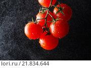 Купить «Tomatoes on black background. Healthy food», фото № 21834644, снято 15 декабря 2018 г. (c) BE&W Photo / Фотобанк Лори