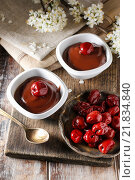 Купить «Chocolate dessert with cherries. Party dish», фото № 21834840, снято 20 июля 2018 г. (c) BE&W Photo / Фотобанк Лори