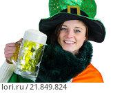 Купить «Pretty brunette celebrating Saint Patricks day», фото № 21849824, снято 20 февраля 2015 г. (c) Wavebreak Media / Фотобанк Лори