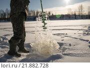 Зимняя рыбалка. Стоковое фото, фотограф Максим Колесов / Фотобанк Лори