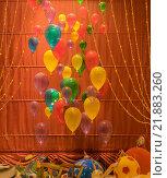 Воздушные шарики в ночной витрине (2015 год). Редакционное фото, фотограф Максим Колесов / Фотобанк Лори
